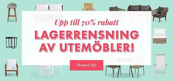 Kampanj: LAGERRENSNING AV UTEMÖBLER. Av Furniturebox.se